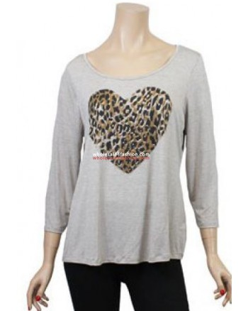 Leopard Heart Beige Shirt