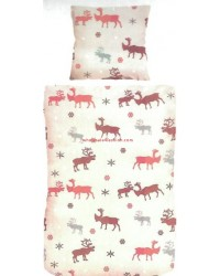 Linen moose pattern winter pillowcase duvet cover