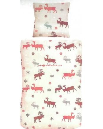 Linen moose pattern winter pillowcase duvet cover