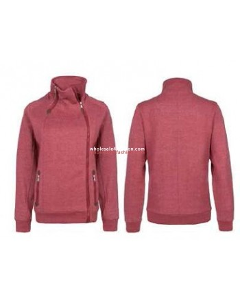 Ladies sublevel sweat jacket autumn zipper red brown black