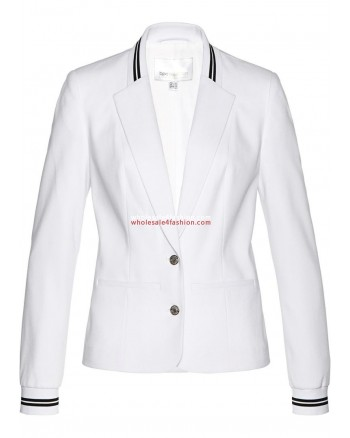 Ladies Blazer White With striped ribbed cuffs
