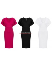 Ladies Dress Flounce Sleeves Dresses Pink Black White