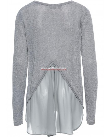 Ladies Lurex Sweater with Chiffon Gray Silver Pullover