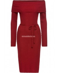 Knit Dress Red Ladies Carmen Neck Dress