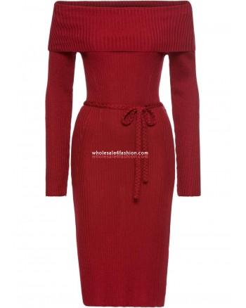 Knit Dress Red Ladies Carmen Neck Dress