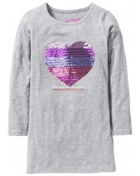 Girls sequin dress gray long sleeve