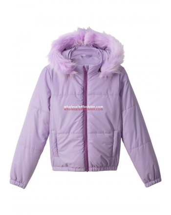 Kids Girls Jacket Quilted Hooded Jacket
