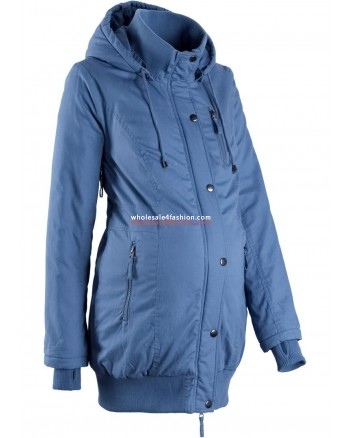 Ladies Jacket maternity jacket with hood and ribbed cuffs blue
