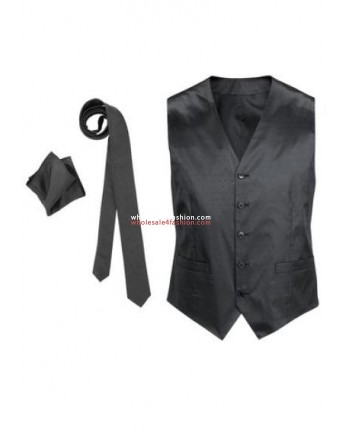 Mens Vest Tie Cloth Set Business Fashion Suit